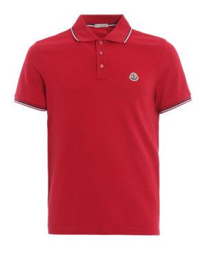 MONCLER: polo - Polo rossa in piqué con dettagli tricolori