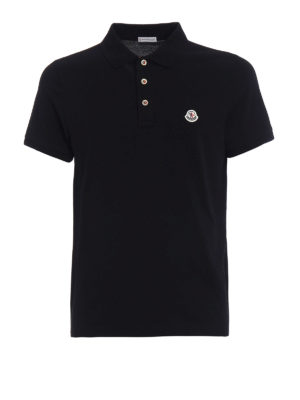Moncler: polo shirts - Tricolour placket black polo shirt