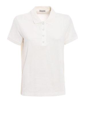 Moncler: polo shirts - White pique polo shirt
