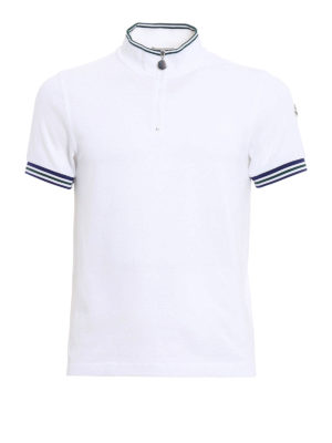 Moncler: polo shirts - Zipped cotton pique polo shirt