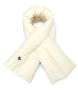 Moncler: scarves - Ivory nylon padded scarf