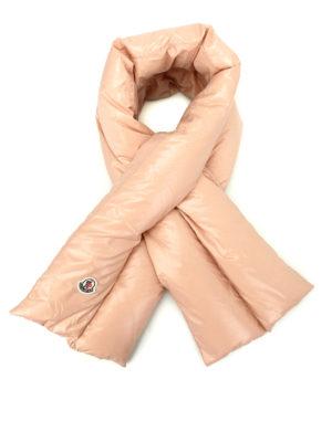 Moncler: scarves - Light pink nylon padded scarf