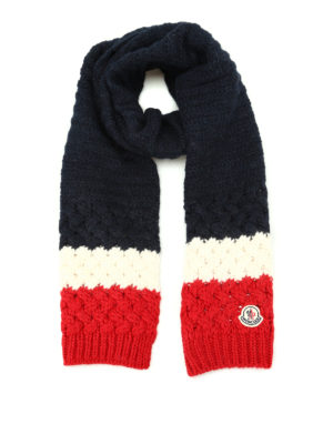 Moncler: scarves - Logo three-colour cable knit scarf