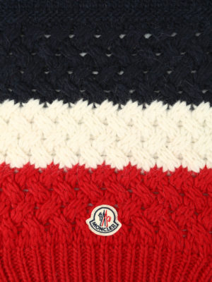 Moncler: scarves online - Logo three-colour cable knit scarf