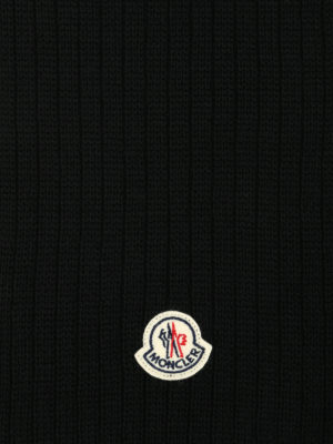 Moncler: scarves online - Rib knitted black wool scarf