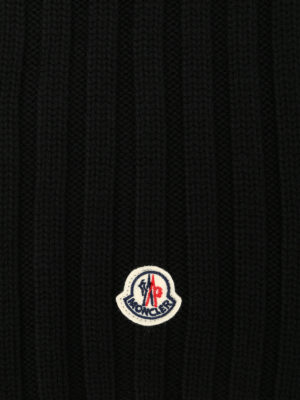 Moncler: scarves online - Rib knitted virgin wool scarf
