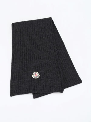Moncler: scarves online - Rib knitted wool scarf