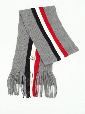 Moncler: scarves online - Ribbed virgin wool scarf