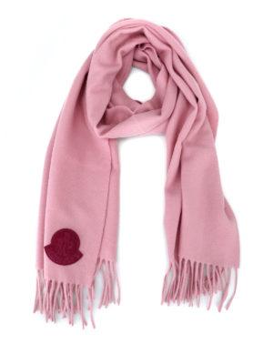 MONCLER: sciarpe e foulard - Sciarpa in panno di lana rosa
