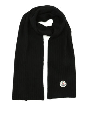 Moncler: scarves - Rib knitted black wool scarf