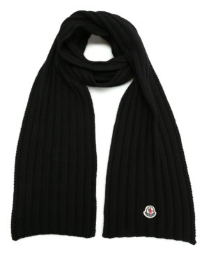 Moncler: scarves - Rib knitted virgin wool scarf