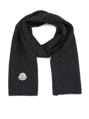 Moncler: scarves - Rib knitted wool scarf