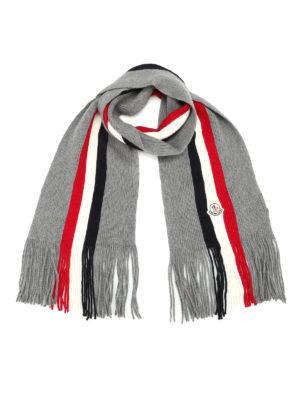 Moncler: scarves - Ribbed virgin wool scarf