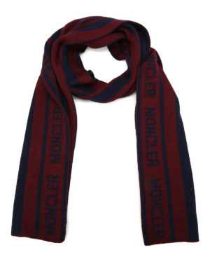 Moncler: scarves - Striped virgin wool long scarf