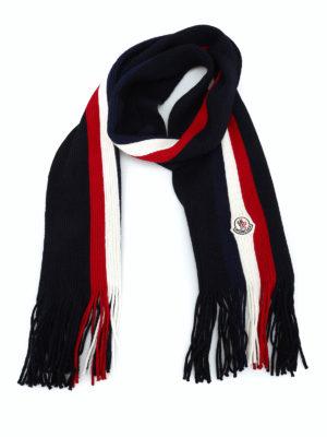 MONCLER: sciarpe e foulard - Sciarpa in lana blu con righe tricolori