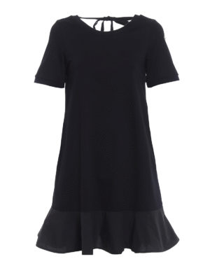 Moncler: short dresses - Expandable cotton black dress