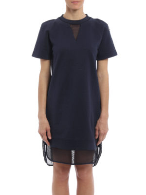 Moncler: short dresses online - Mesh embellished cotton mini dress