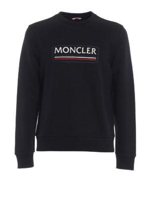 Moncler: Sweatshirts & Sweaters - Black logo lettering sweatshirt