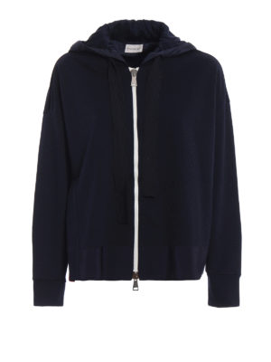 Moncler: Sweatshirts & Sweaters - Boxy zipped hoodie with side slit