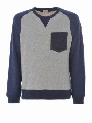 Moncler: Sweatshirts & Sweaters - Denim pocket bicolour sweatshirt