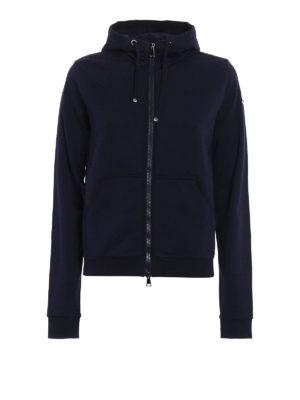 Moncler: Sweatshirts & Sweaters - Full zip gros grain trim hoodie