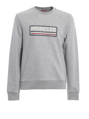 Moncler: Sweatshirts & Sweaters - Grey logo lettering sweatshirt