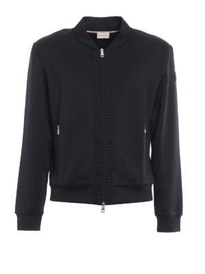 MONCLER: Felpe e maglie - Felpa nera con bande logo