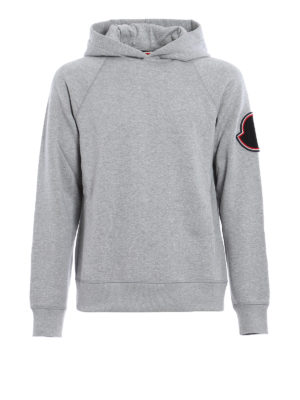 Moncler: Sweatshirts & Sweaters - Logo patch cotton hoodie