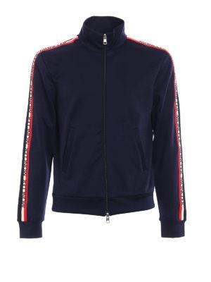 Moncler: Sweatshirts & Sweaters - Logo patch sleeves sweatshirt