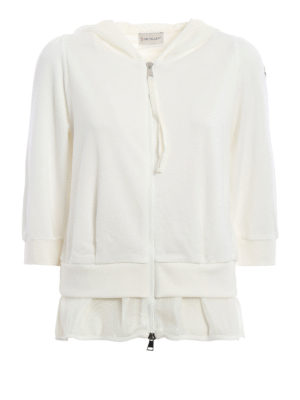 Moncler: Sweatshirts & Sweaters - Mesh detailed hoodie