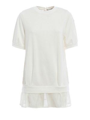 Moncler: Sweatshirts & Sweaters - Mesh peplum short sleeve sweatshirt