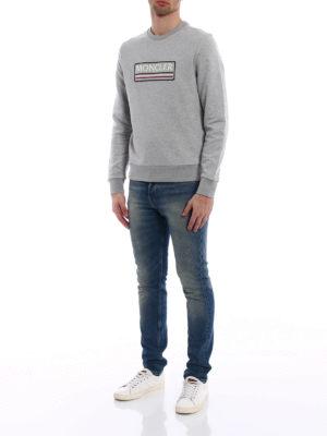 Moncler: Sweatshirts & Sweaters online - Grey logo lettering sweatshirt