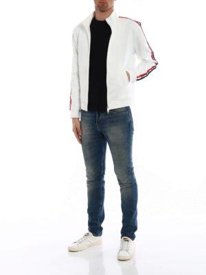 Moncler: Sweatshirts & Sweaters online - Logo detailed sleeves sweatshirt