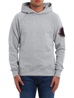 Moncler: Sweatshirts & Sweaters online - Logo patch cotton hoodie