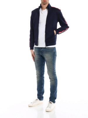 Moncler: Sweatshirts & Sweaters online - Logo patch sleeves sweatshirt