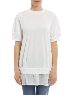Moncler: Sweatshirts & Sweaters online - Mesh peplum short sleeve sweatshirt