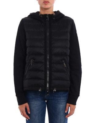 Moncler: Sweatshirts & Sweaters online - Padded nylon panel black hoodie