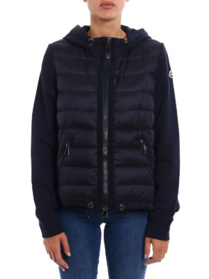 Moncler: Sweatshirts & Sweaters online - Padded nylon panel zipped hoodie