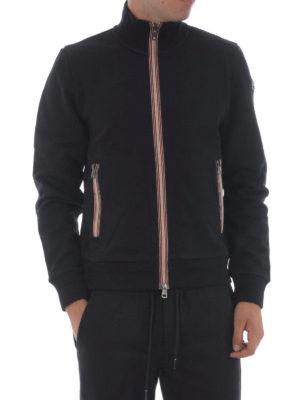 Moncler: Sweatshirts & Sweaters online - Stripe trim zipped sweat jacket