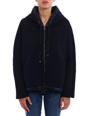 Moncler: Sweatshirts & Sweaters online - Wool blend satin trim flared hoodie
