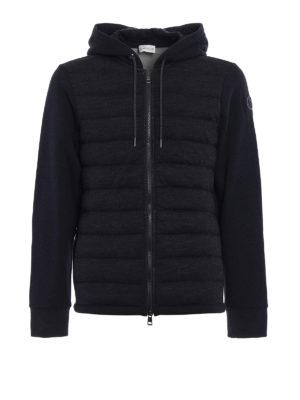 Moncler: Sweatshirts & Sweaters - Padded front dark grey hoodie