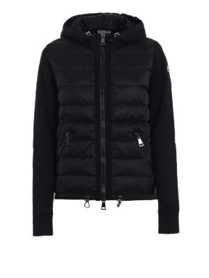Moncler: Sweatshirts & Sweaters - Padded nylon panel black hoodie