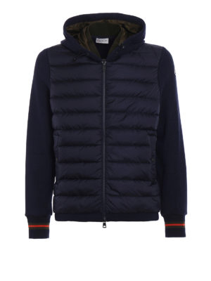Moncler: Sweatshirts & Sweaters - Padded two-tone soft hoodie