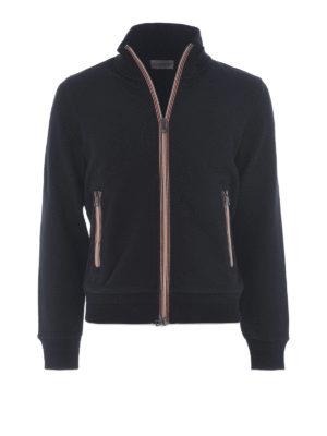 Moncler: Sweatshirts & Sweaters - Stripe trim zipped sweat jacket