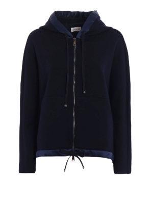 Moncler: Sweatshirts & Sweaters - Wool blend satin trim flared hoodie