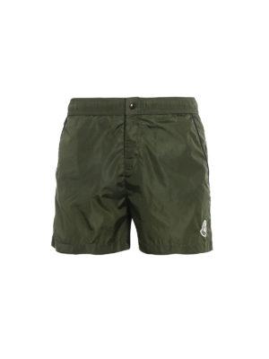 Moncler: Swim shorts & swimming trunks - Dark green nylon swim shorts
