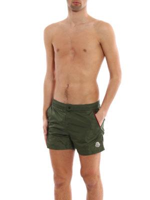 Moncler: Swim shorts & swimming trunks online - Dark green nylon swim shorts