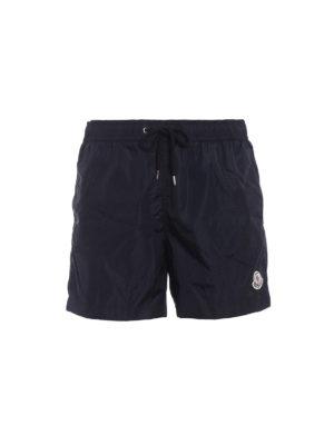 Moncler: Swim shorts & swimming trunks - Rear zipped pocket blue swim shorts