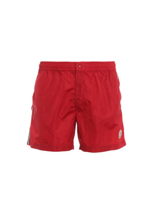 MONCLER: Swim shorts & swimming trunks - Red swim shorts with tricolour grosgrain