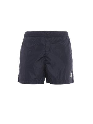 Moncler: Swim shorts & swimming trunks - Red trimmed blue nylon swim shorts